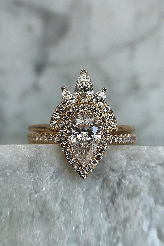 engagement ring designers pave band pear cut rose gold halo unique set