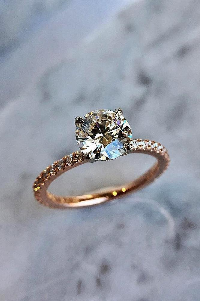 engagement ring designers pave band round cut rose gold solitaire