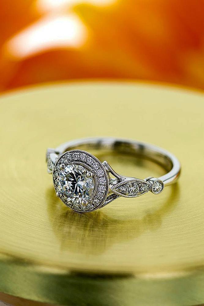 engagement ring designers round cut diamond halo vintage