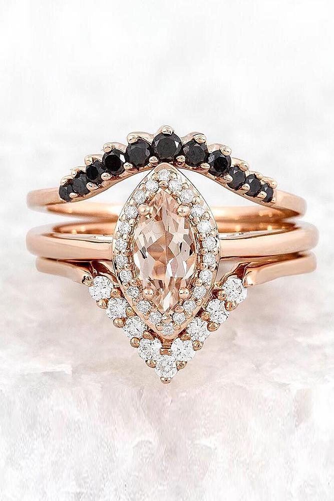 engagement ring designers unique design by annasheffield rose gold marquise gemstone halo