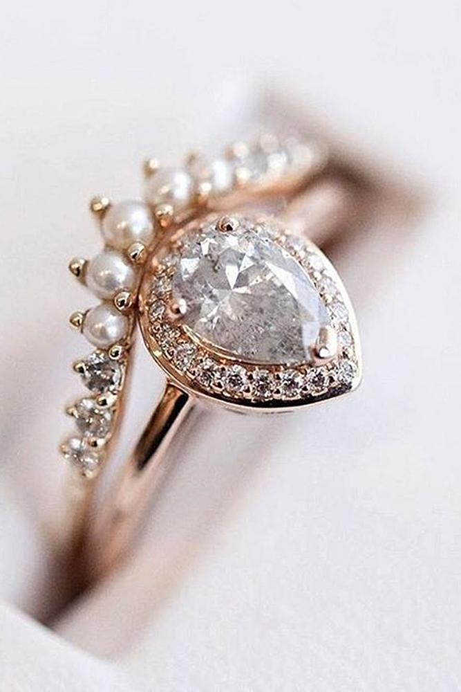 engagement ring designers unique design by annasheffield rose gold pear cut gemstone halo sparkling