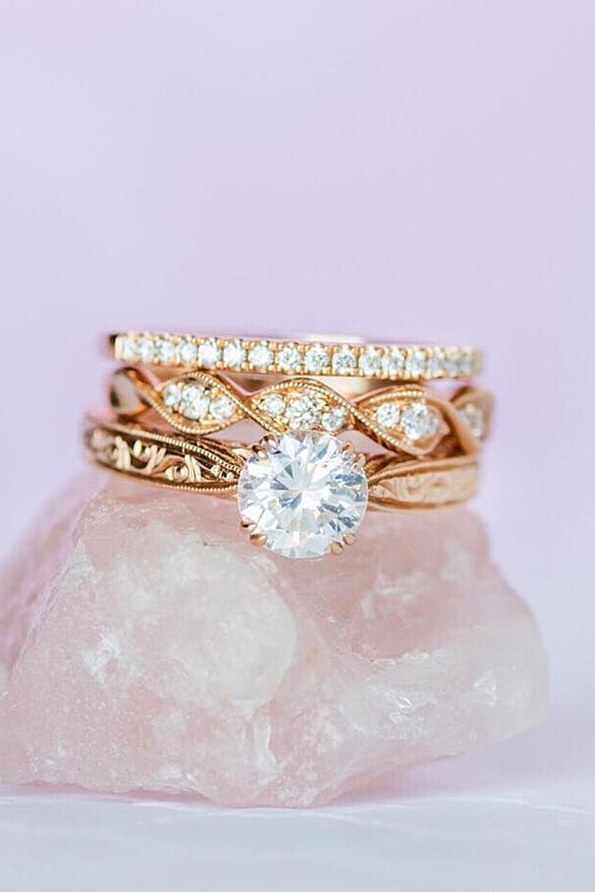 engagement ring designers wedding sets by kirkkara rose gold sparkling