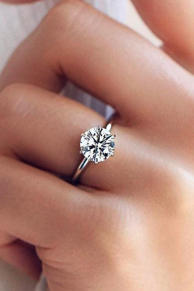 Genial Engagement Ring Designers White Gold Round Cut Simple Diamond