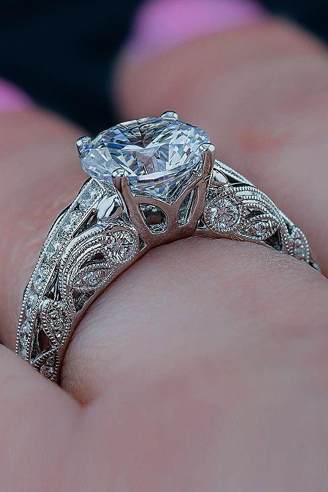 engagement ring designers white gold vintage diamond round cut