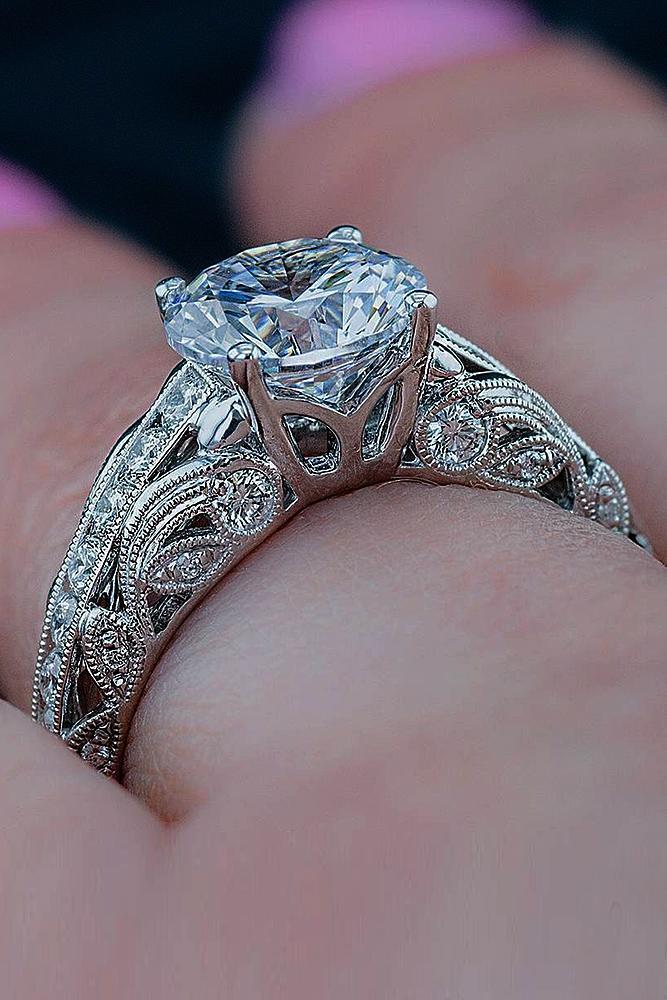 engagement ring designers white gold vintage diamond round cut