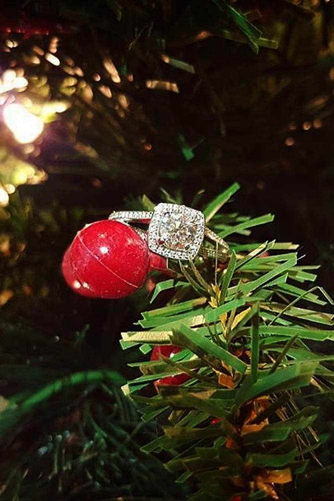 new year engagement photos christmas tree engagement ring white gold