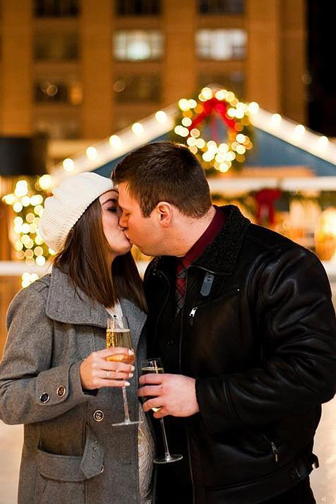 new year engagement photos engaged couple kiss