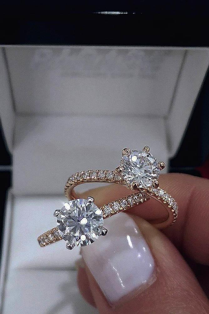 rose gold engagement rings with pave bands round diamonds