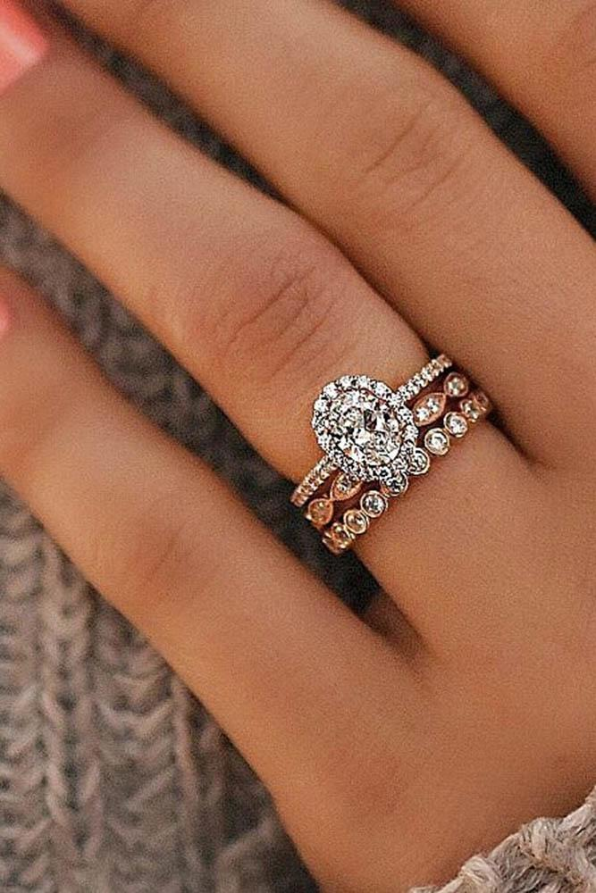 rose gold wedding ring set halo