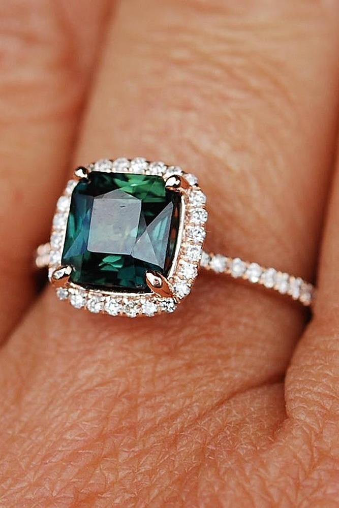Best sapphires designers cushion cut halo pave band