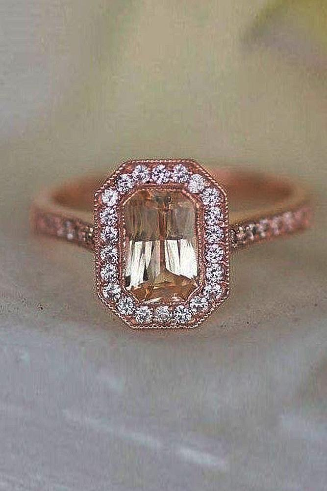 Best sapphires designers emerald cut halo rose gold