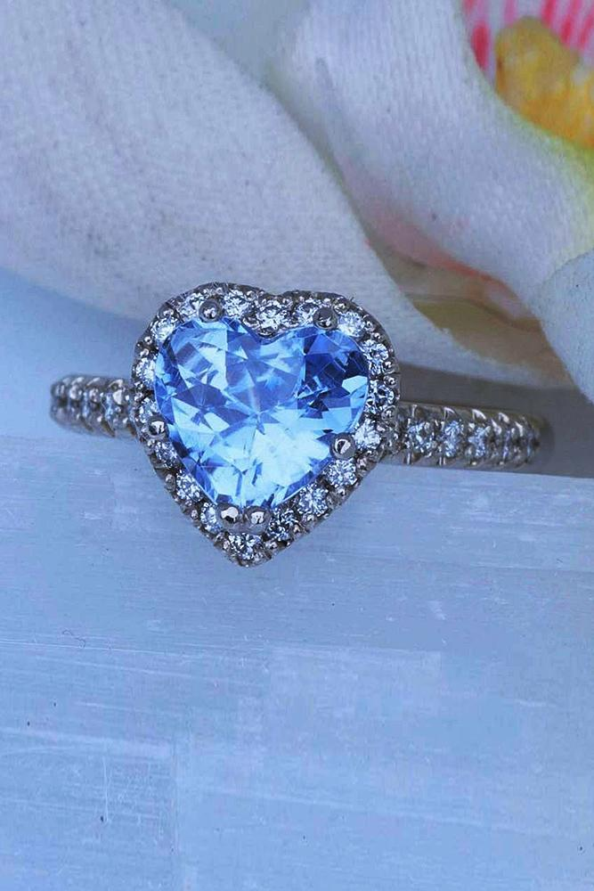 Best sapphires designers heart shaped halo white gold pave band
