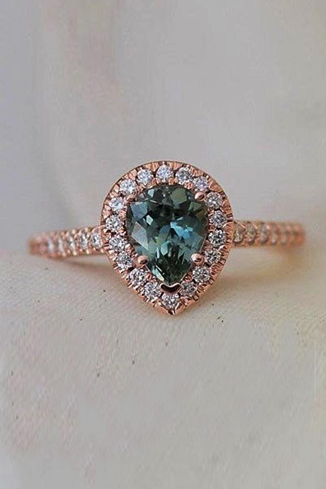 Best sapphires designers pear cut halo rose gold pave band