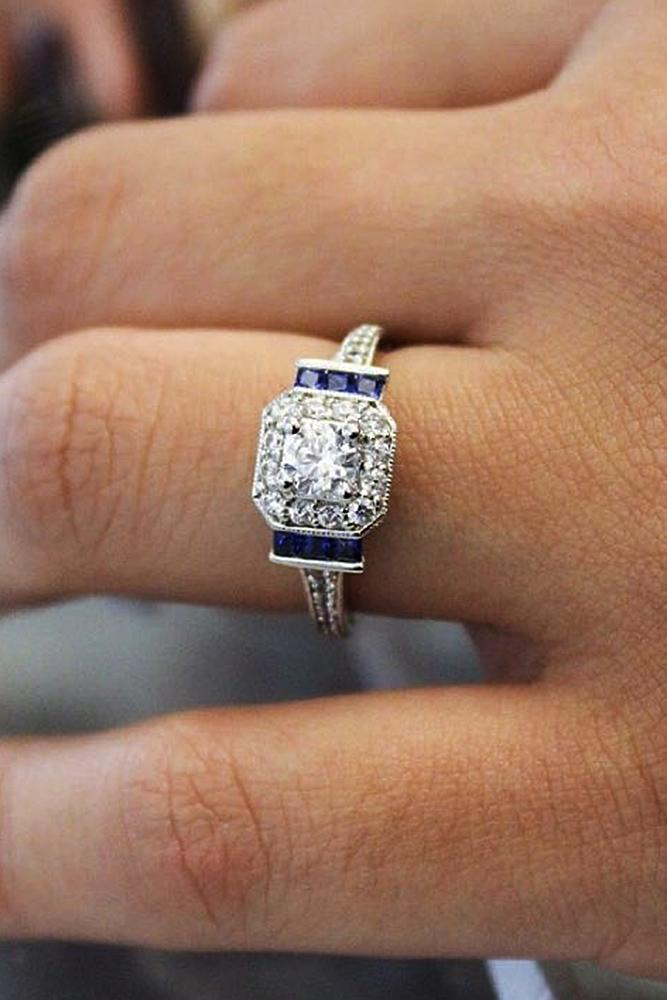 Best sapphires designers princess cut white gold halo vintage