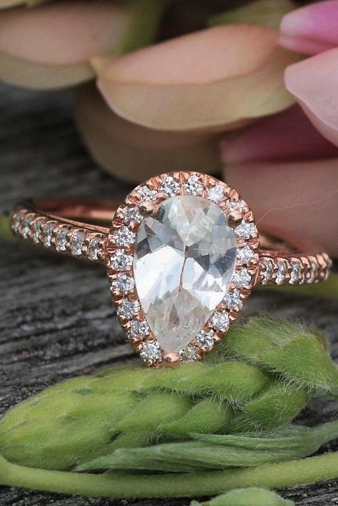 Best sapphires designers rose gold halo pear cut