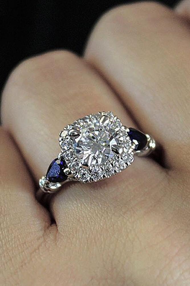 Best sapphires designers round cut halo diamond unique