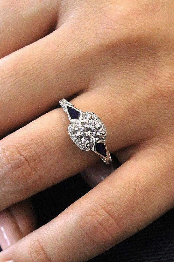 Best sapphires designers round cut halo diamonds white gold