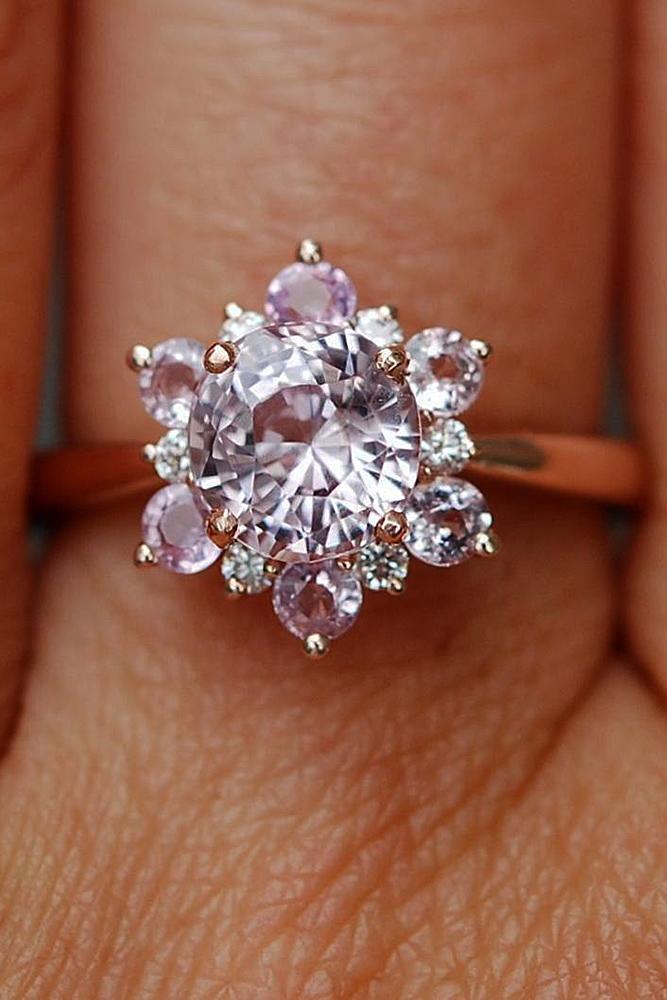 Best sapphires designers round cut halo snowflake rose gold unique