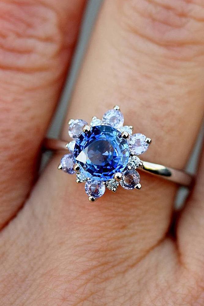Best sapphires designers round cut snowflake halo rose gold