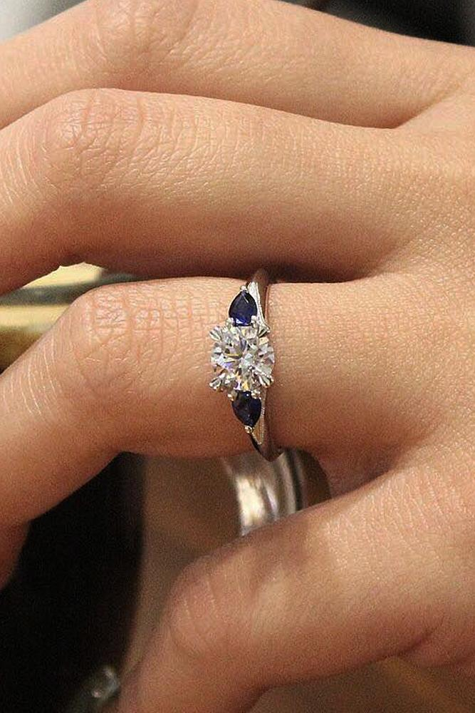 Best sapphires designers round cut solitaire diamond white gold