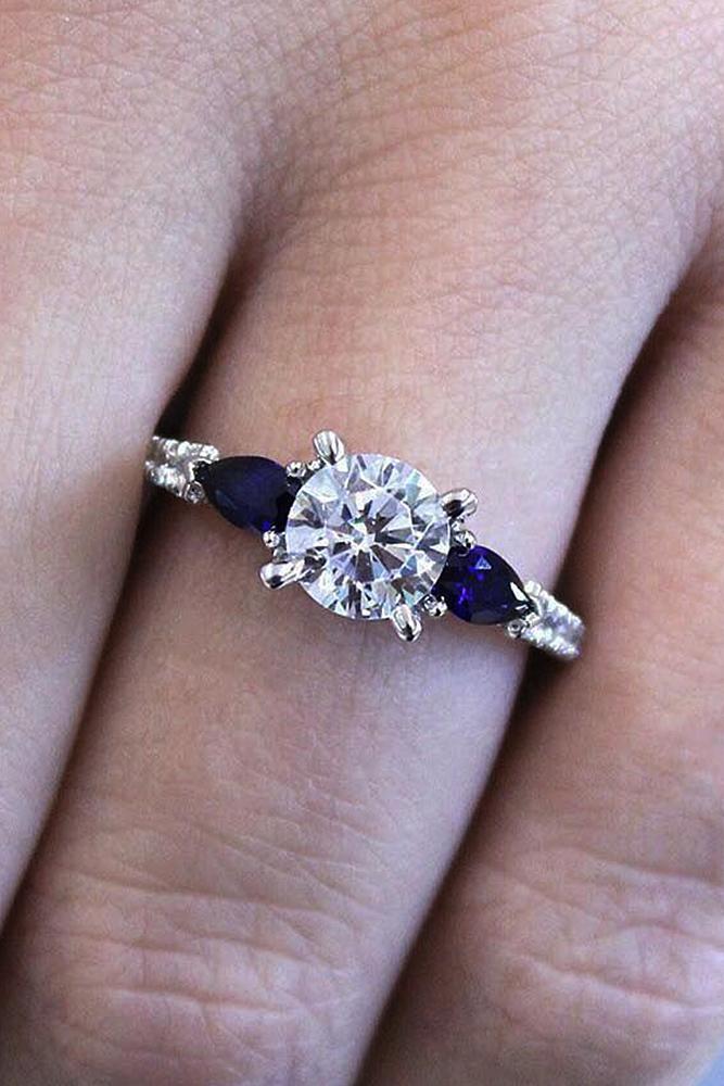 Best sapphires designers solitaire diamond round cut modern