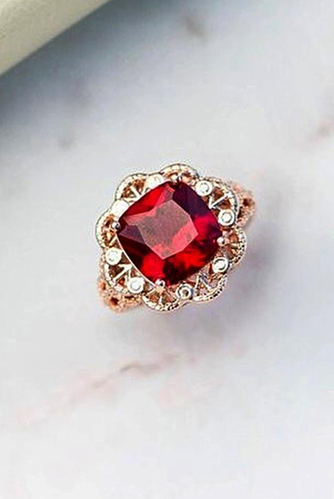Best vintage engagement rings cushion cut halo rose gold