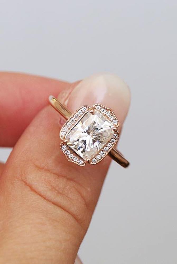 Best vintage engagement rings emerald cut halo rose gold