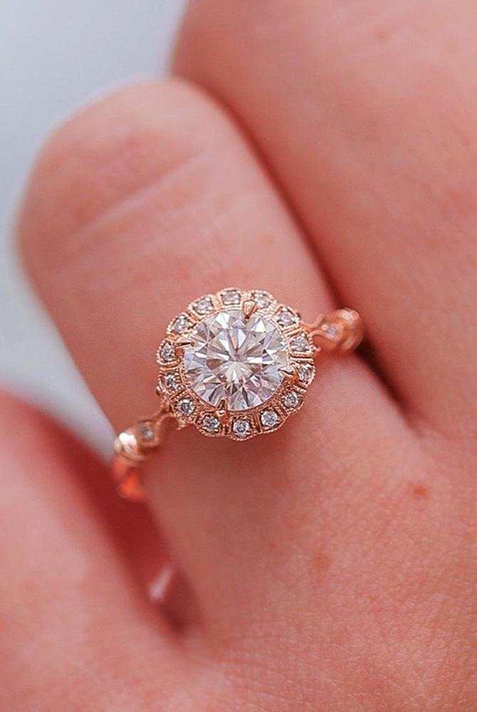 Best vintage engagement rings halo round cut rose gold