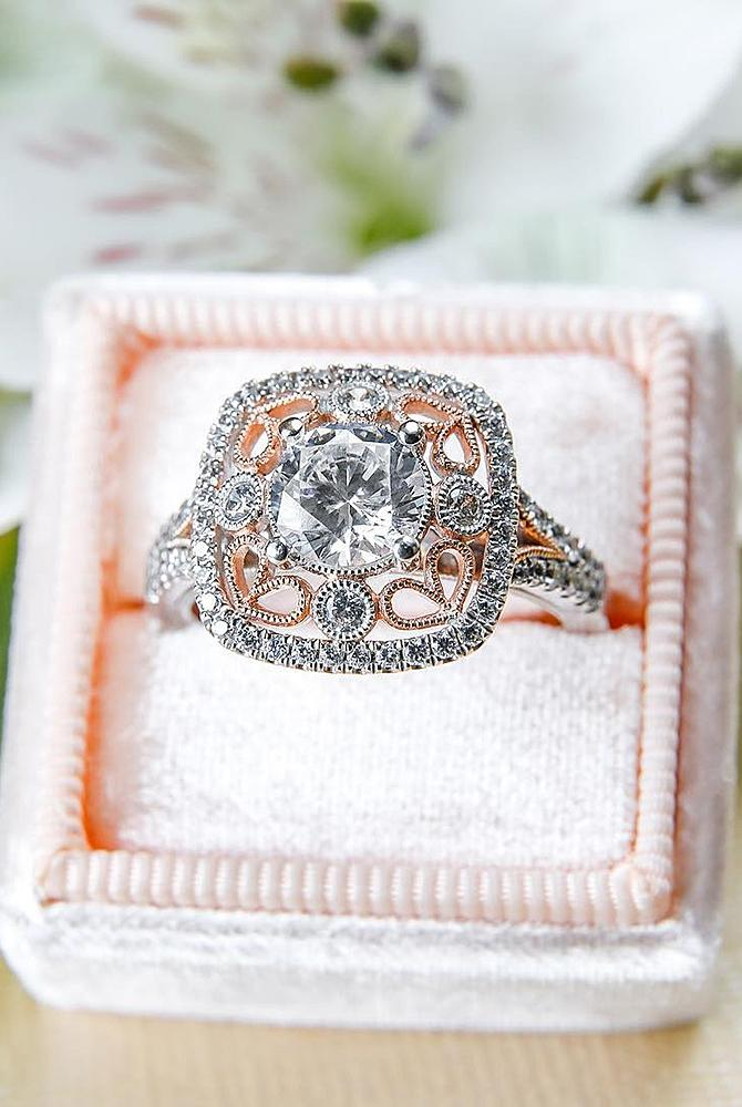 Best vintage engagement rings mixed metals gold diamond round cut