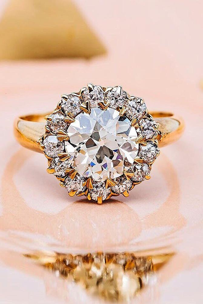 Best vintage engagement rings round cut diamond halo floral gold