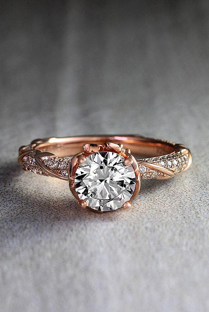 Best vintage engagement rings round cut diamond rose gold