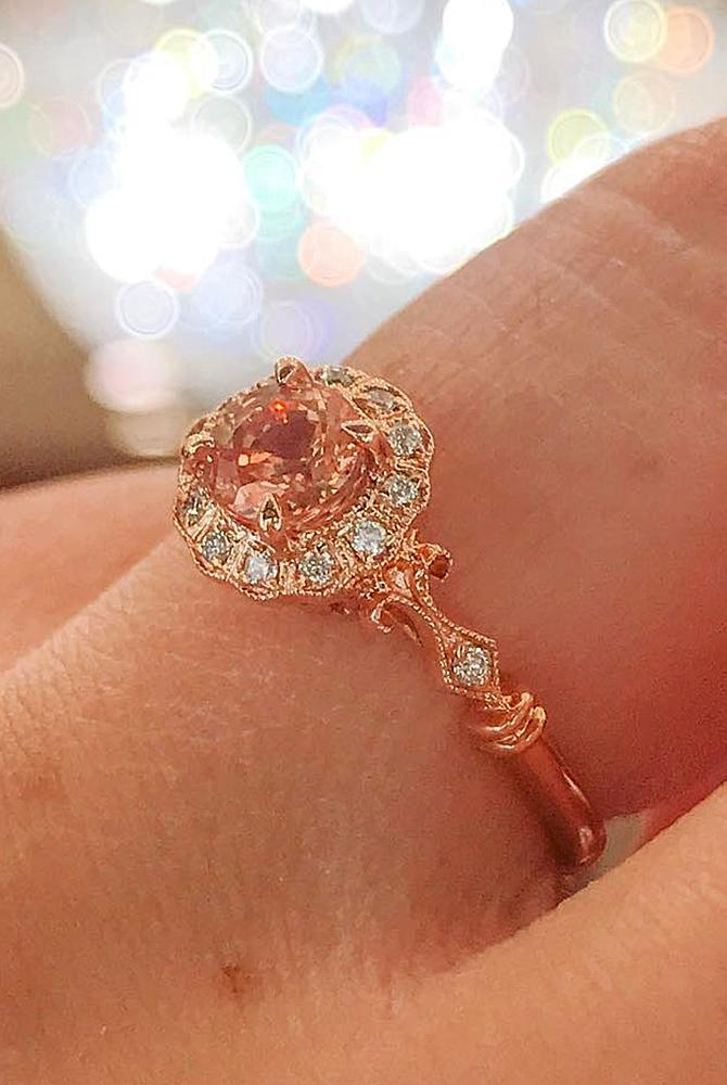 Best vintage engagement rings round cut rose gold morganite