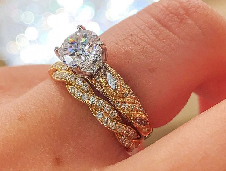 Best vintage engagement rings yellow gold solitaire diamond round cut