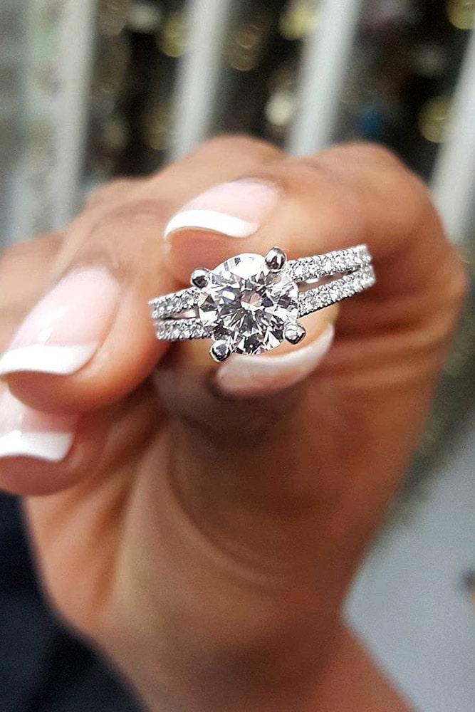 best engagement rings white gold engagement rings round rings pave band