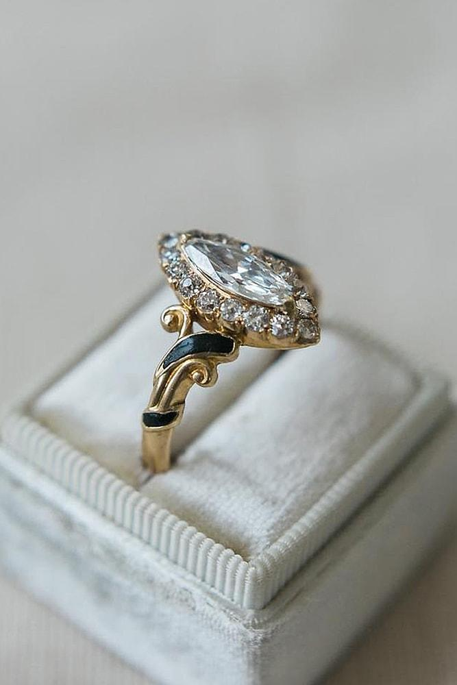 best vintage engagement rings bronze colored gold marquise cut diamond pave band with unique elements wonderful