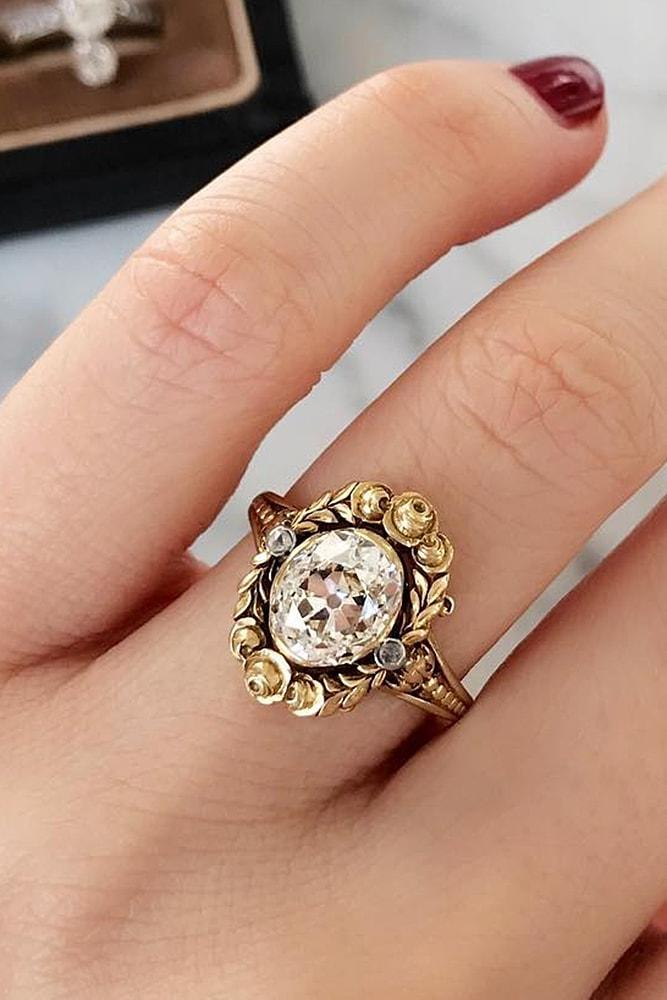 best vintage engagement rings bronze colored gold oval cut diamond wonderful