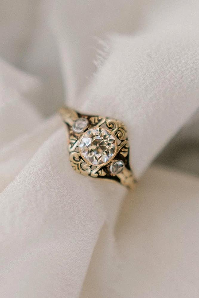 best vintage engagement rings bronze colored gold round cut diamond pave band with unique elements amazing