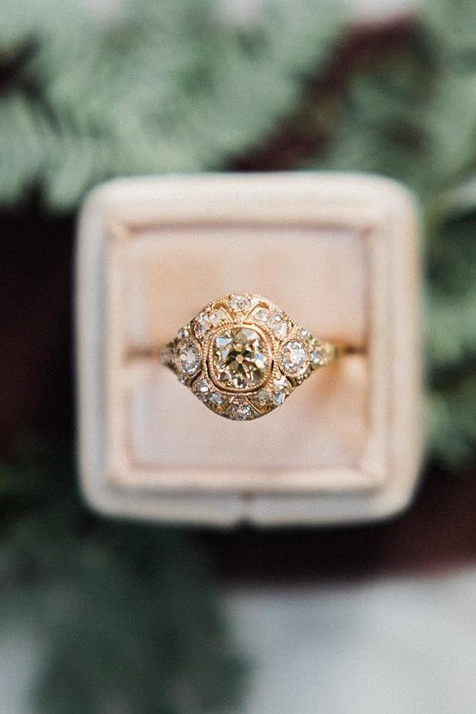 best vintage engagement rings cushion cut gemstone rose gold