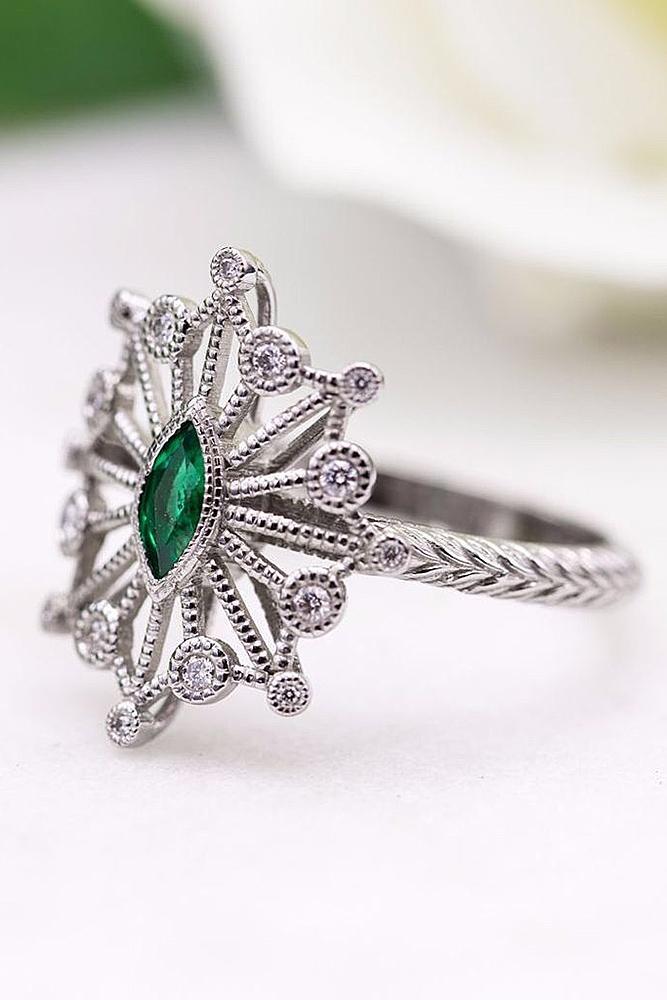 best vintage engagement rings gemstone white gold