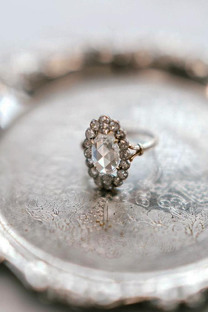 best vintage engagement rings oval cut floral halo