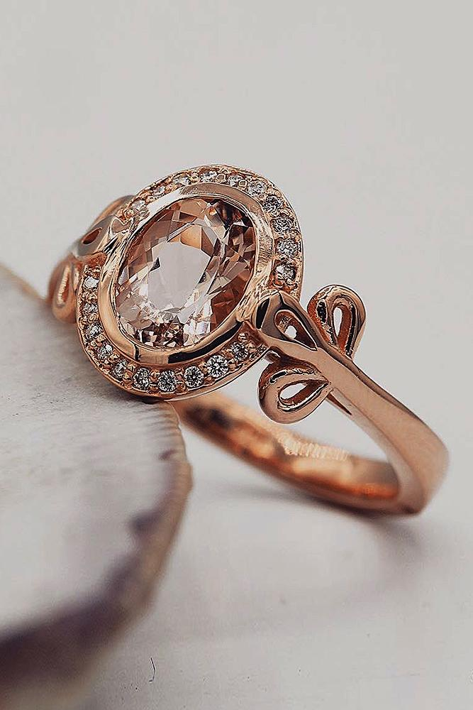 best vintage engagement rings rose gold oval cut morganite halo