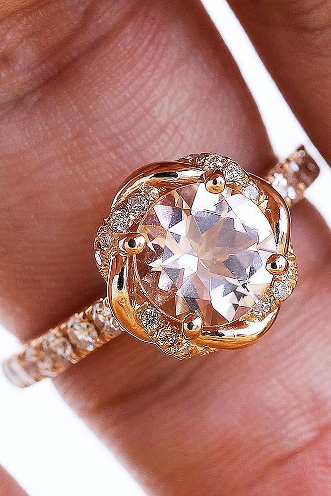 best vintage engagement rings round cut halo floral pave band