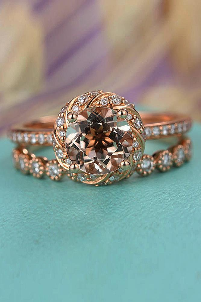 best vintage engagement rings round cut halo pave band wedding set morganite