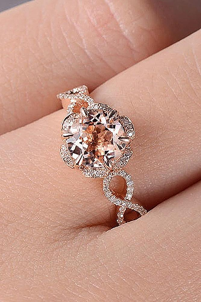 best vintage engagement rings round cut morganite halo twist pave band