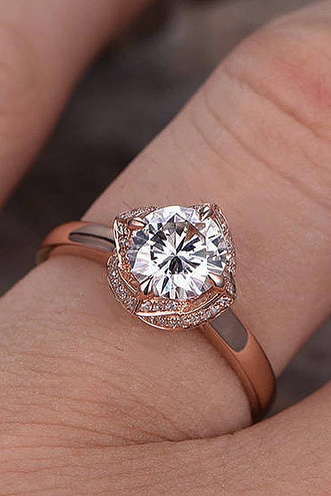 best vintage engagement rings round cut rose gold diamond