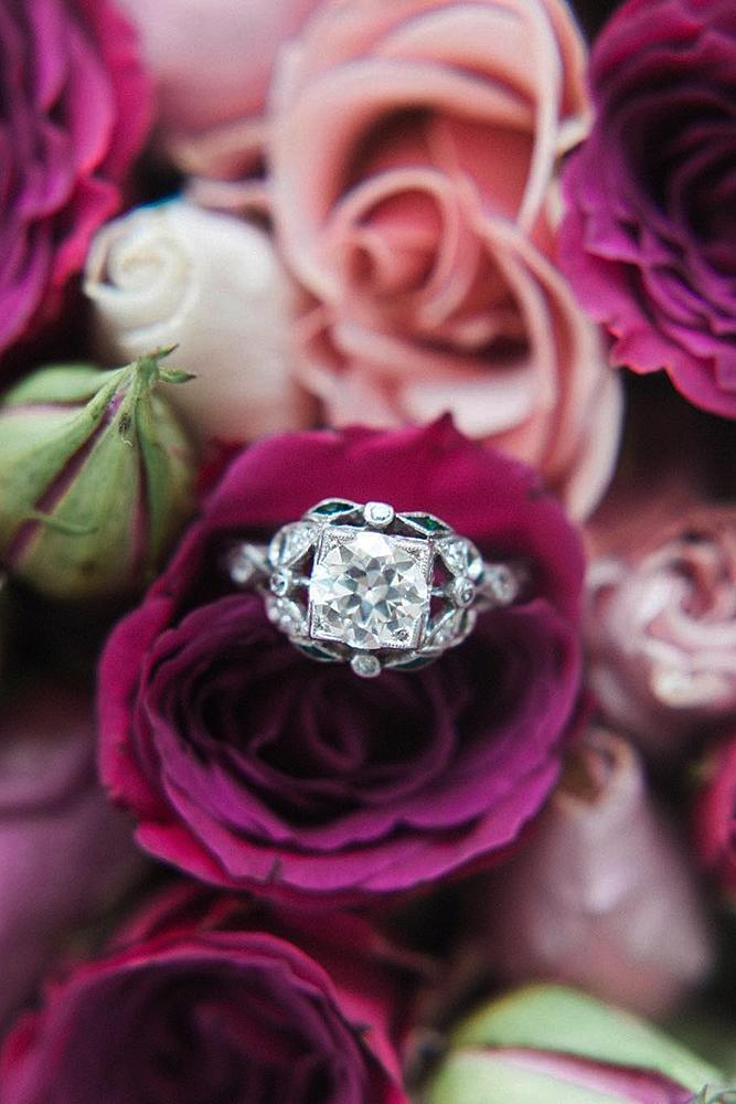 best vintage engagement rings round cut white gold diamond