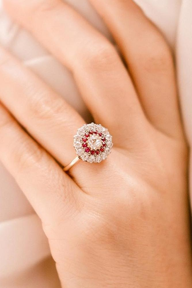 best vintage engagement rings yellow gold double halo