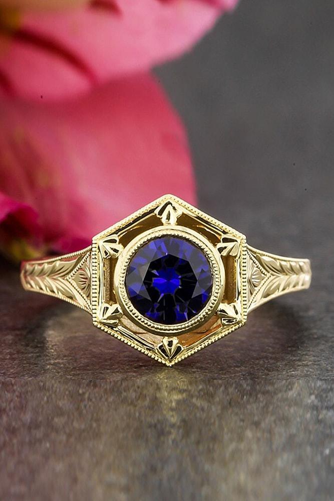 best vintage engagement rings yellow gold round cut sapphire halo unique pave band unique