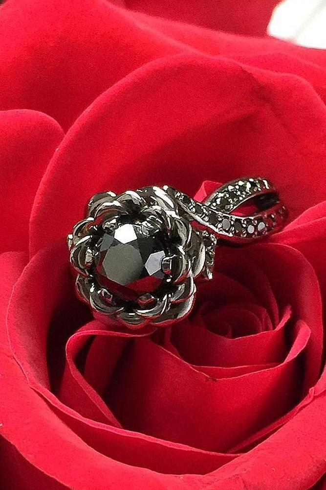 halo engagement rings black diamond round cut floral unique