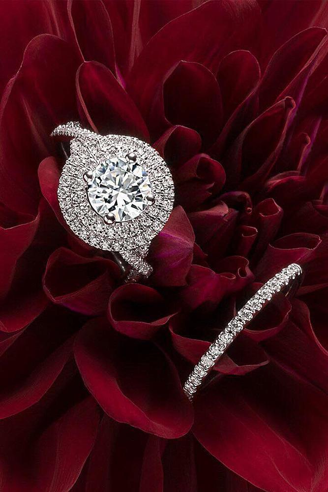 halo engagement rings double halo round cut diamond wedding set